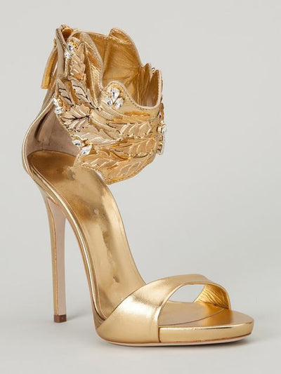 Golden Peep Toe Sandals - Belle Valoure - 1
