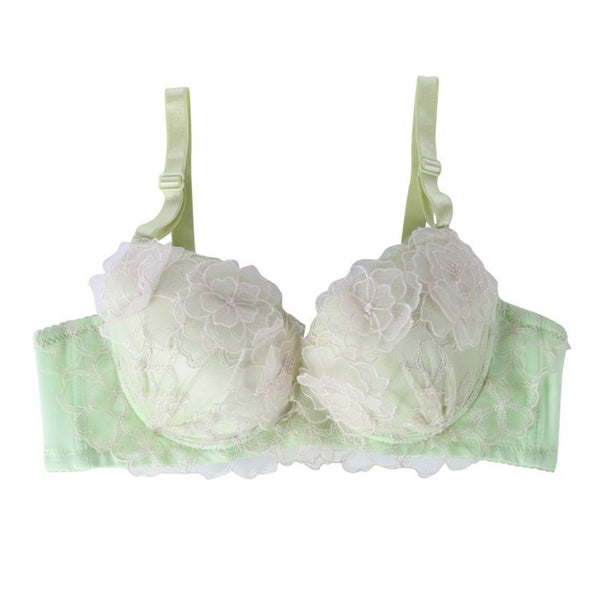 Tamarin Flora Embroidered Lace Underwire Gather Push-Up Bra And Panty Set - Belle Valoure - 5