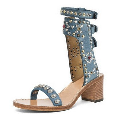 Studded Ankle Sandals - Belle Valoure - 3