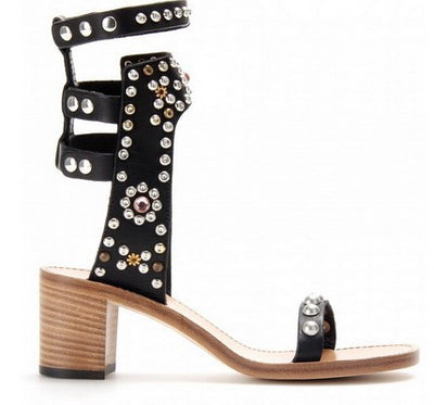 Studded Ankle Sandals - Belle Valoure - 1