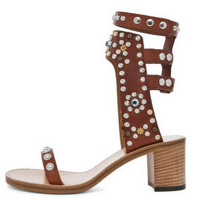 Studded Ankle Sandals - Belle Valoure - 7