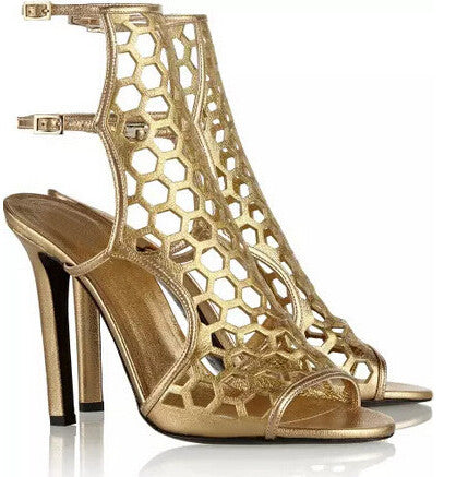 Giana Gold Gladiator Sandals - Belle Valoure - 1