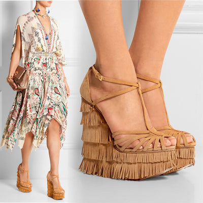 Lora Suede Fringe Wedge Sandals - Belle Valoure - 2