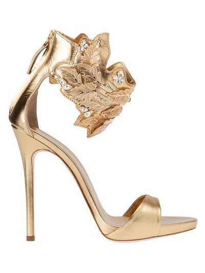 Golden Peep Toe Sandals - Belle Valoure - 3