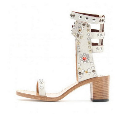 Studded Ankle Sandals - Belle Valoure - 6