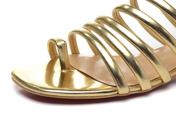 Lora Gold Gladiator Flat Sandals - Belle Valoure - 2