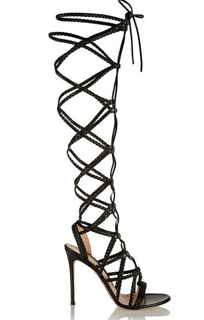 Lora Gladiator Lace Up Knee High Sandals - Belle Valoure - 3