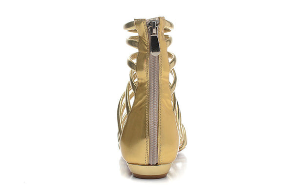 Lora Gold Gladiator Flat Sandals - Belle Valoure - 3