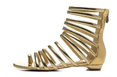 Lora Gold Gladiator Flat Sandals - Belle Valoure - 1
