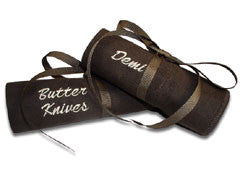 Butter Knives Demitasse Embroidered Pacific Silvercloth Flatware Storage Rolls