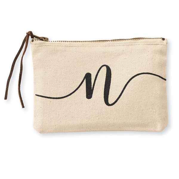 Initial Canvas Cosmetic Bag