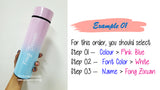 Customised Name Printing Two Tone Pastel Water Bottle / Temperature Indicator Water Tumbler /  Gift Ideas / Birthday / Christmas / Valentine Day