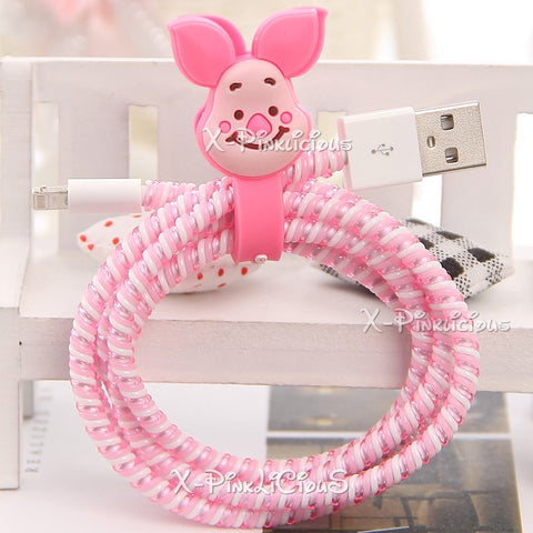 Piglet Pooh Cable Protector with Cable Tie
