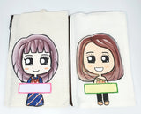 Hand Drawn Girl or Boy Pouch / Customised Name Pencil Case / Personalised Your Own Message