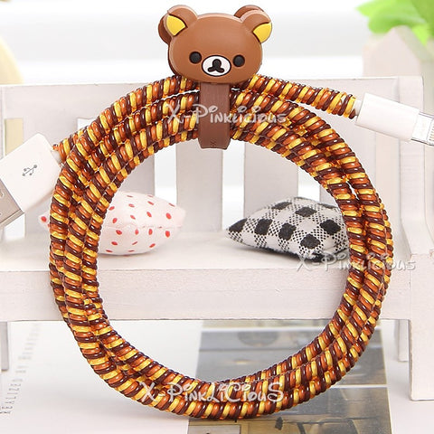 Brown Rilakkuma Cable Protector with Cable Tie