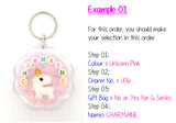 Unicorn Personalised Crystal Name Keychain