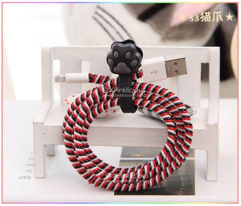 Black Paw Cable Protector with Cable Tie
