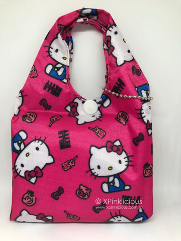 C03-Rose Pink Hello Kitty Foldable Recycle Bag / Tote Bag / Teachers Day / Children Day Gift Ideas / Birthday Goodie Bag / Party Favors / Kids Present / Christmas