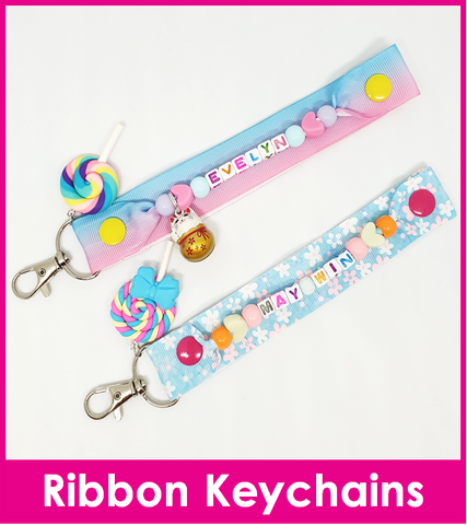 Handmade Name Ribbon Keychain / Premium Quality Customised Name Bag Tag