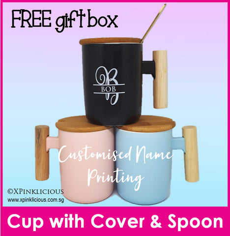 Customised Name Print Cup with Cup Cover and Spoon / Name Print Mug / Christmas Gift Ideas / Teacher's Day Present / Valentine Day
