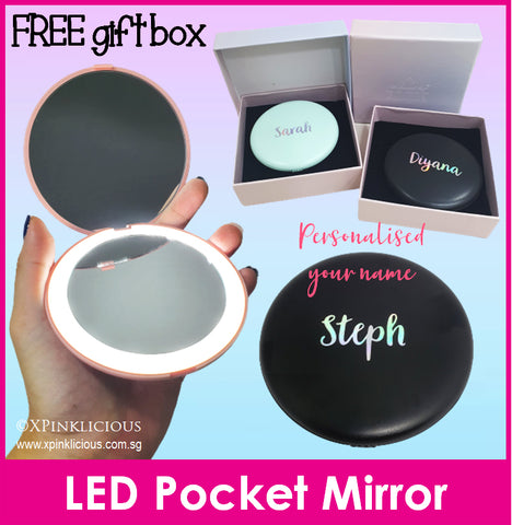 Customised Name LED Pocket Mirror / Personalised Name Portable Mirror / Christmas Gift Ideas / Teacher's Day Present / Valentine Day