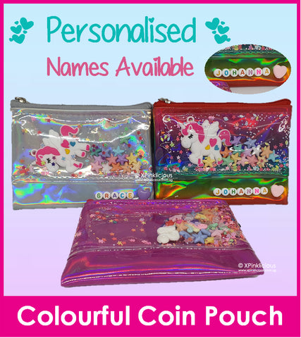 Shake Shake Colourful Coin Pouch/Customise Name Available