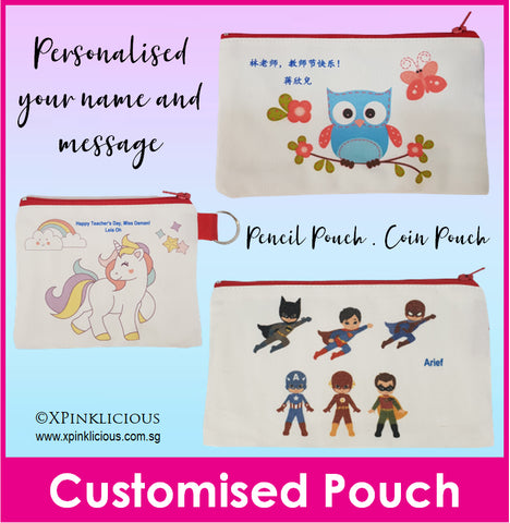 Customised Name Print Coin Pouches / Pencil Case / Pencil Box /  / Teachers Day / Children Day Gift Ideas / Birthday Goodie Bag / Party Favors / Kids Present / Christmas