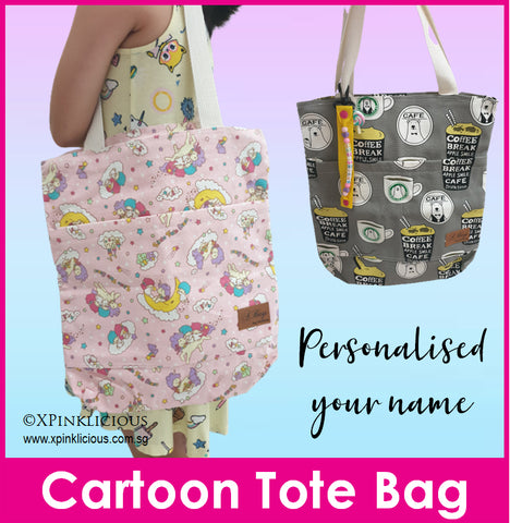 Cartoon Totebag/Canvas Tote Bag/Shoulder Bag/Recycle Bag/Shopping Bag/Tuition Bag/Teacher's Day Gift/Children Day Present