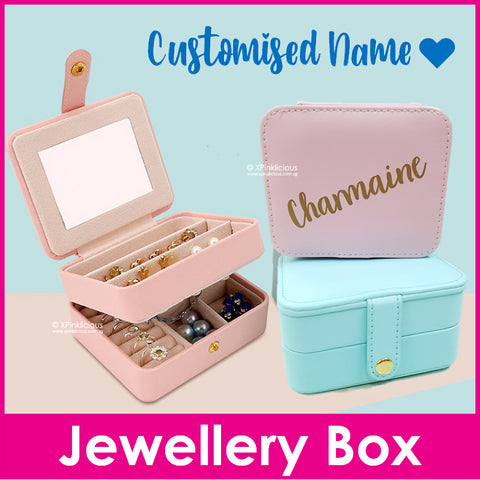 Customised Name Jewellery Storage Box / Travel Essentials / Christmas Gifts Ideas / Valentine Day