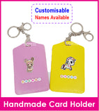 Personalised Small Bead Card Holder with Keyring / Lanyard