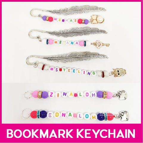 Customised Bookmark Keychain / Small Bead Dust Cap Keychain / Zipper Ring Keychain / Name Tag