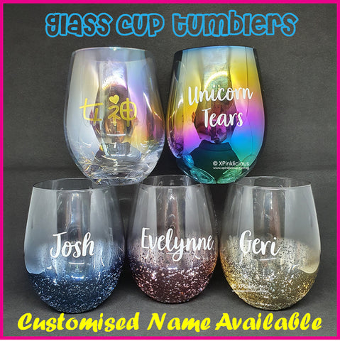 Customised Name Glass Cup Tumbler / Christmas Gift Ideas / Couple Egg Glass Mug / Valentines Day