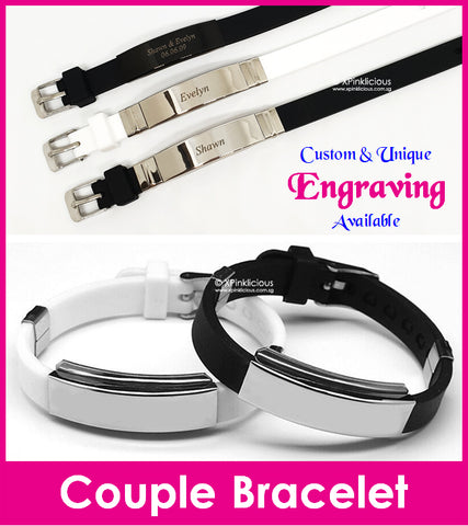 Couple Bracelet with Name Engraving / Valentine Day Present / Christmas Gift Ideas