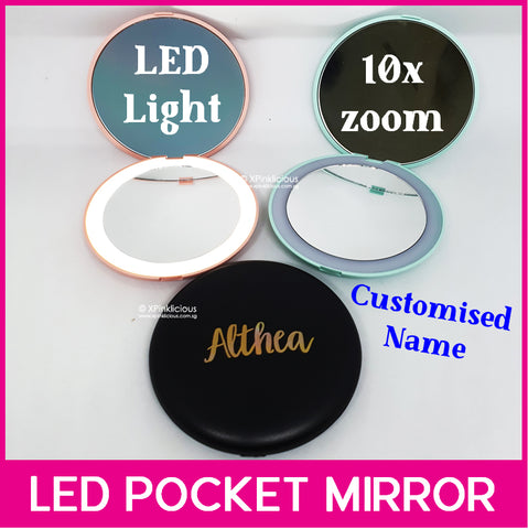 Customised Name LED Pocket Mirror / Personalised Name Portable Mirror / Christmas Gift Ideas