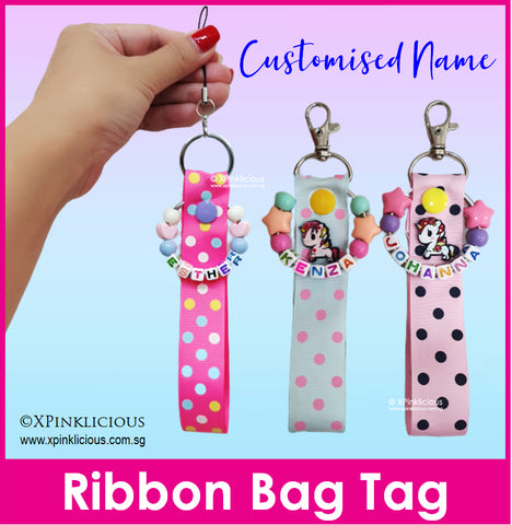 Customised Name Ribbon Bag Tag / Handmade Ribbon Keychain / Teacher's Day Gift / Christmas Present / Gift Ideas