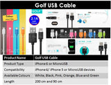Golf 90cm USB Cable for SAMSUNG, OPPO, HTC AND ETC