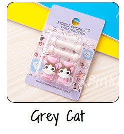 Grey Cat Cartoon Cable Protector