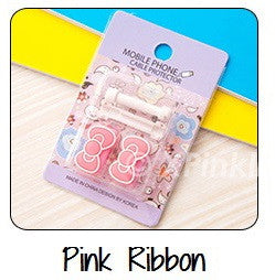 Pink Ribbon Cartoon Cable Protector