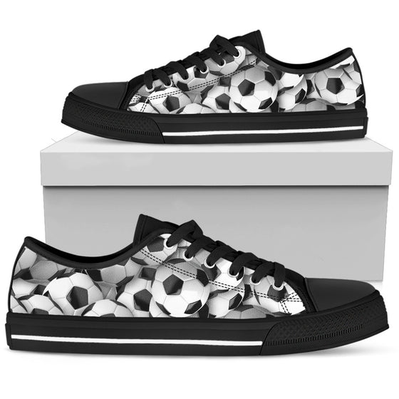 Soccer Balls- Black Men's Low-Top
