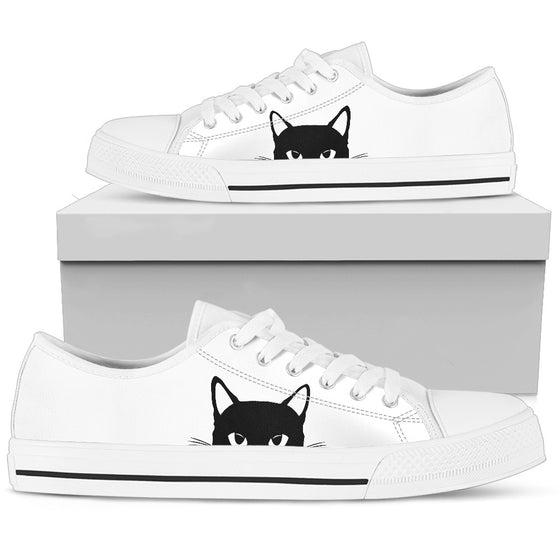 Sneaky Kitty - White Low-Top