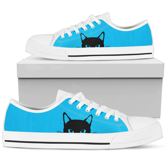 Sneaky Kitty - Blue Low-Top