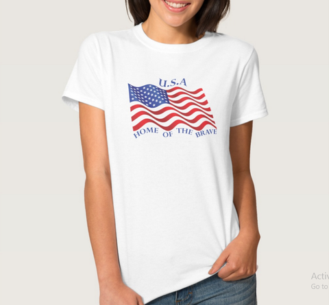 U.S Flag  T-shirt - Next Level Apparel CVC Ladies Crew