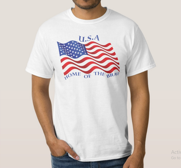 American Flag T-Shirt - Next Level Men's Premium Fitted CVC Crew