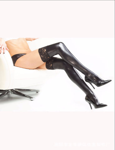 Leather stockings with lace
