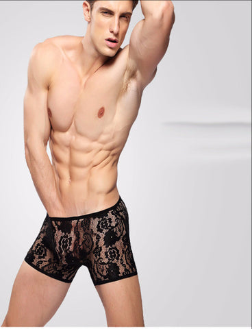 Men's boxer sexy transparent lace briefs Black