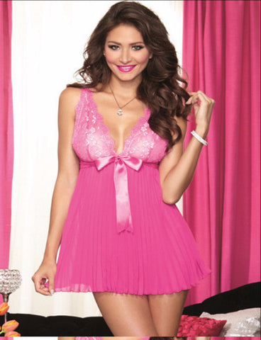 Pink babydoll set with ribbon decor