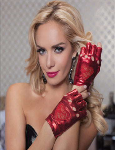 Leather Role Play gloves with Lace heart, Red