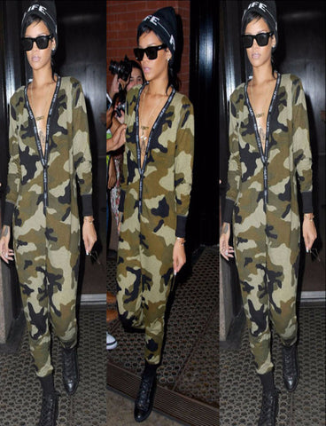 Star with camouflage long-sleeved jumpsuit