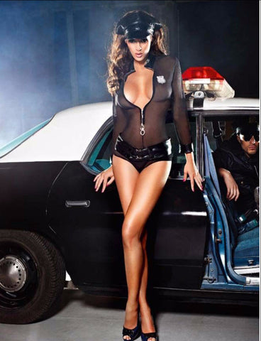 Police Costume - Blue Sheer Sexy cop