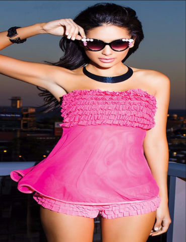 Tickled Ruffle Babydoll with lace ruffle panties, Hot pink
